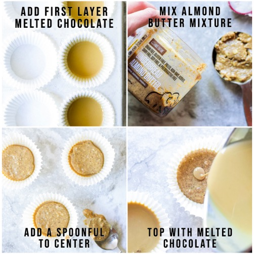 4 photo collage, showing each visual step making the almond butter cups